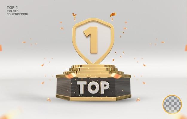 Top 1 najlepszy znak na podium złoty rendering 3d