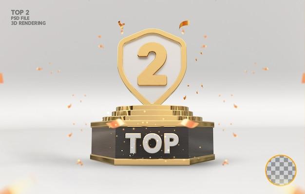 Top 2 najlepszy znak na podium złote renderowanie 3d