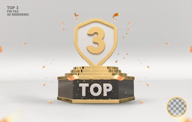 Top 3 najlepszy znak na podium złote renderowanie 3d