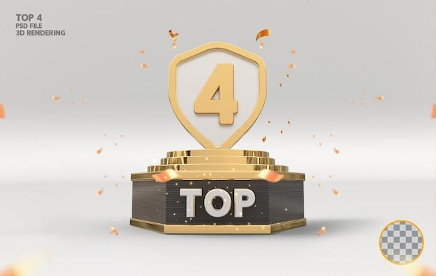 Top 4 najlepszy znak na podium złote renderowanie 3d