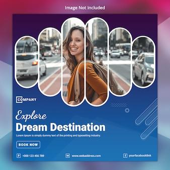 Tour travel szablon mediów społecznościowych