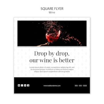 Tradycyjny kwadratowy projekt ulotki z winem