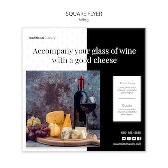 Tradycyjny kwadratowy styl ulotki z winem