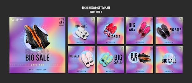 Trampki sprzedaż szablon postu w mediach społecznościowych