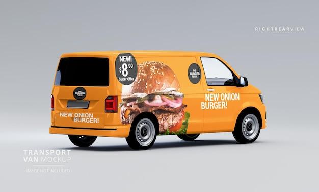 Transport van car mock up right rear view