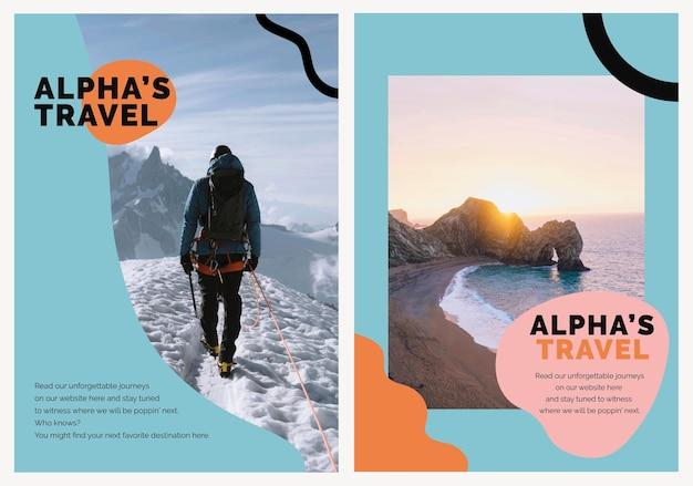 Travel marketing szablon plakat reklamowy psd dla agencji podwójny zestaw