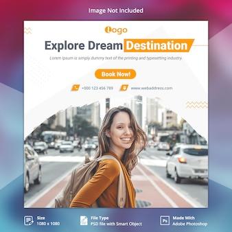 Travel tours instagram post lub kwadratowy szablon banner
