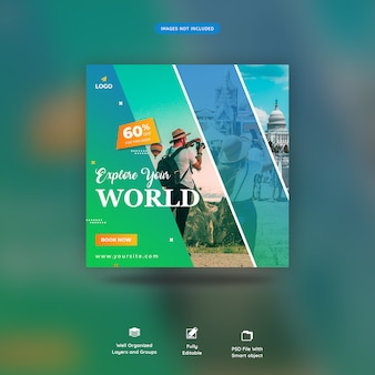 Travel tours szablon post instagram premium psd
