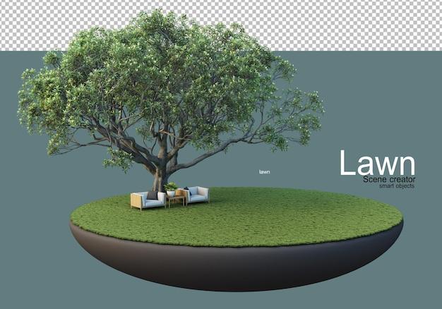 Trawnik z dużymi drzewami i zestawami mebli