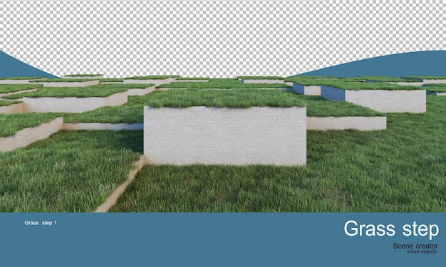 Trawniki o różnych poziomach