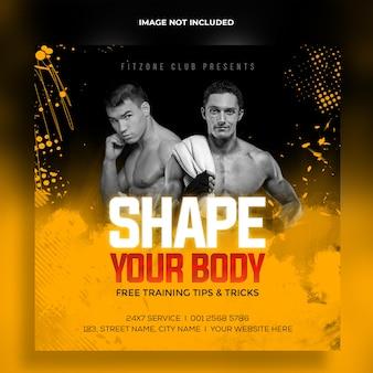 Trening fitness siłownia instagram post i szablon banera internetowego psd