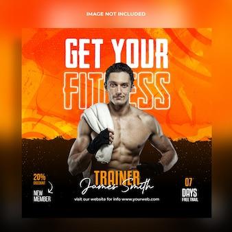 Trening fitness siłownia post instagram i szablon baneru internetowego premium psd