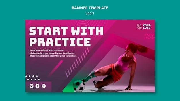 Trening piłkarski szablon transparent