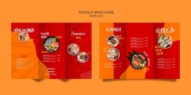 Tri-fold szablon menu dla restauracji azjatyckiej lub japońskiej