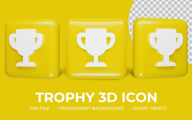 Trofeum lub puchar nagrody ikona renderowania 3d na białym tle