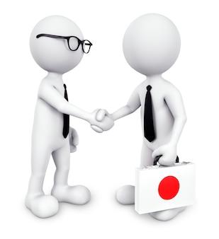 Trójwymiarowy biznesmen drżenie rąk razem