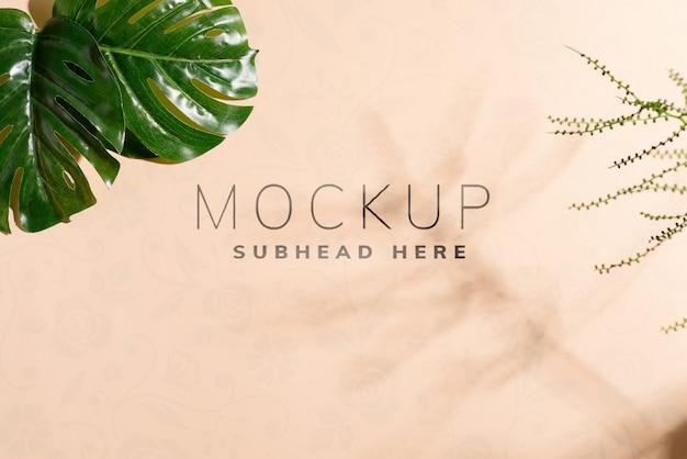 Tropikalne liście i cienie na makieta tło papieru