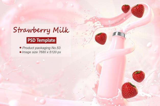 Truskawkowy mleko tła szablon renderowania 3d