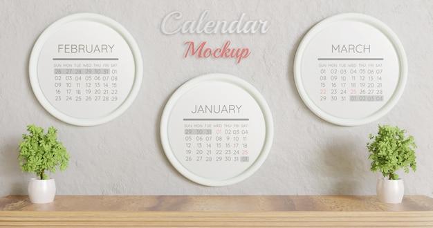 Trzy białe koło makieta kalendarza na ścianie