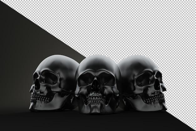 Trzy czaszki na bloku martwa natura renderowanie na czarnym tle