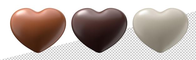 Trzy czekoladowe serca kształt na białym tle