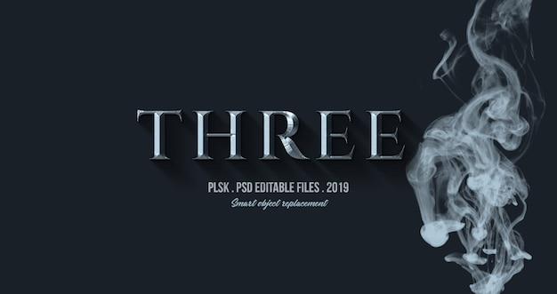 Trzy efekty tekstowe 3d z efektem dymu