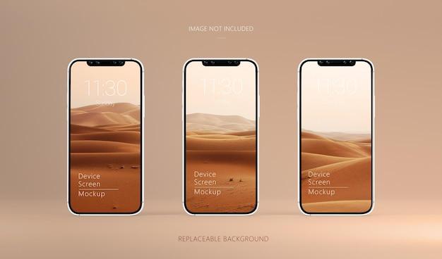 Trzy ekrany urządzeń smartphone pro makieta