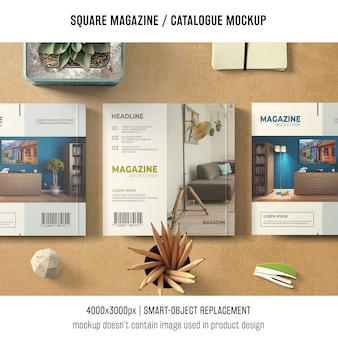 Trzy kwadratowe czasopisma lub makiety katalogowe
