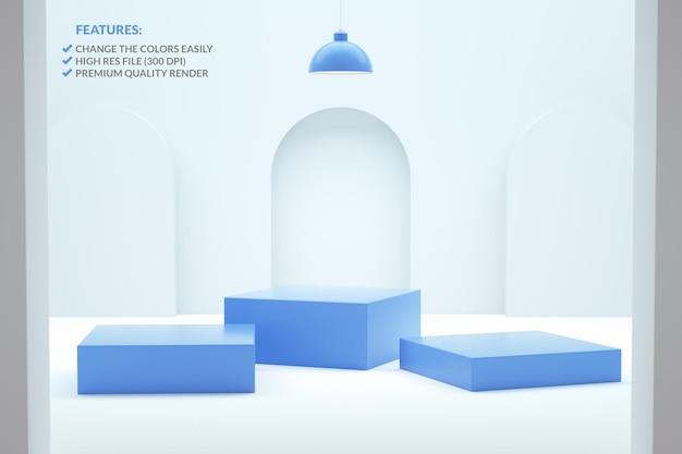 Trzy niebieskie kwadratowe podium w renderowaniu 3d