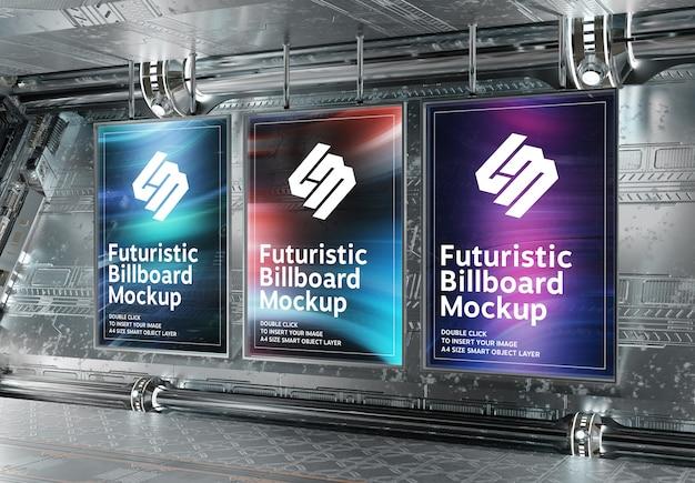 Trzy pionowe billboardy w futurystycznej podziemnej makiecie