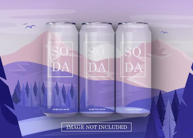 Trzy piwo puszka sody może makiety na podłodze