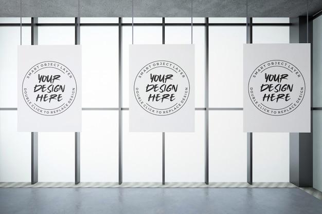 Trzy plakat na ścianie makieta