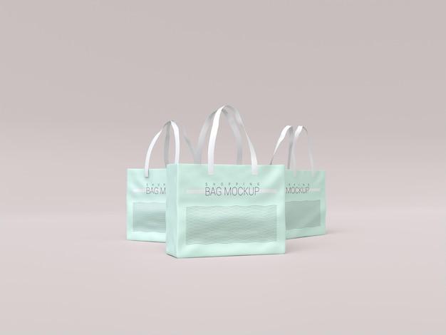 Trzy realistyczne makiety torby na zakupy