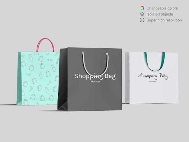 Trzy realistyczne widok z przodu zakupy makieta torby papierowe szablon