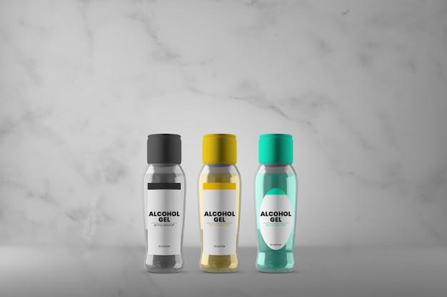 Trzy różne makiety butelek żelowych z alkoholem