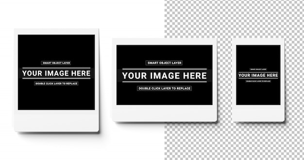 Trzy wycięte natychmiastowe zdjęcia na białym makiecie
