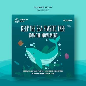 Trzymaj morze bez plastiku, oszczędzaj wody, kwadratowa ulotka