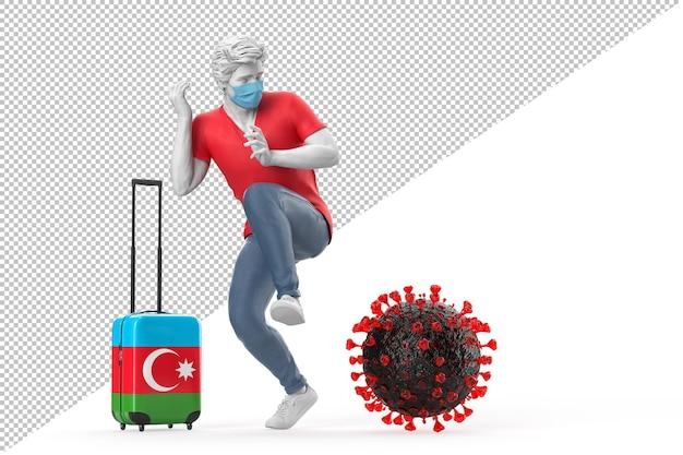 Turysta podróżujący do azerbejdżanu przestraszony cząsteczką wirusa. koncepcja pandemii. renderowanie 3d