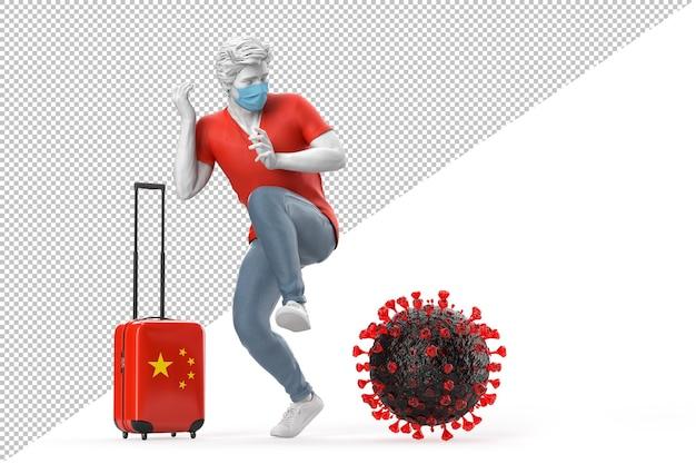 Turysta podróżujący do chin przestraszony cząsteczką wirusa. koncepcja pandemii. renderowanie 3d