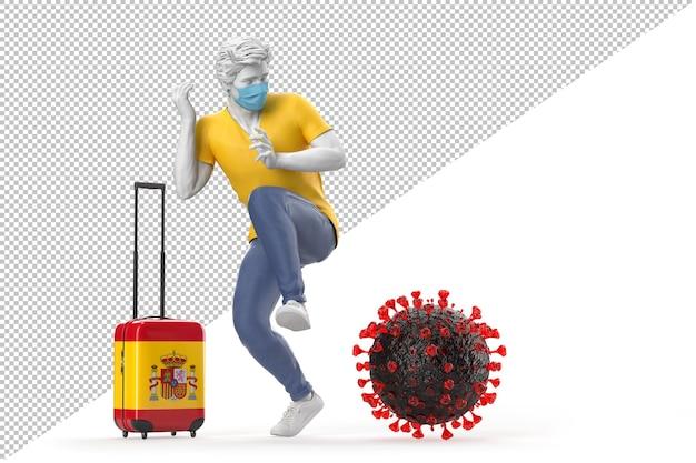 Turysta podróżujący do hiszpanii przestraszony cząsteczką wirusa. koncepcja pandemii. renderowanie 3d
