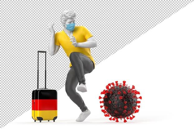 Turysta podróżujący do niemiec przestraszony cząsteczką wirusa. koncepcja pandemii. renderowanie 3d