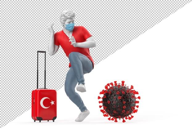 Turysta podróżujący do turcji przestraszony cząsteczką wirusa. koncepcja pandemii. renderowanie 3d