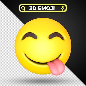 Twarz smakuje pyszne jedzenie emoji na białym tle