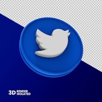 Twitter ikona renderowania 3d na białym tle