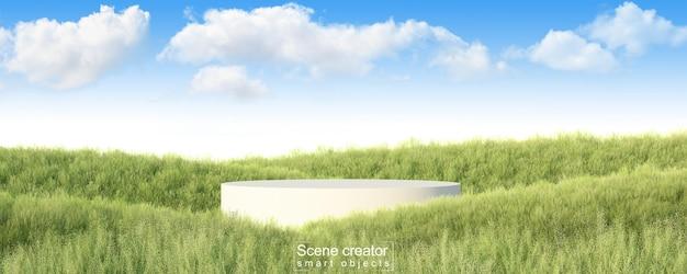 Twórca sceny z białej platformy w trawiastym polu