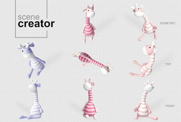Twórca sceny z zabawkami żyraf
