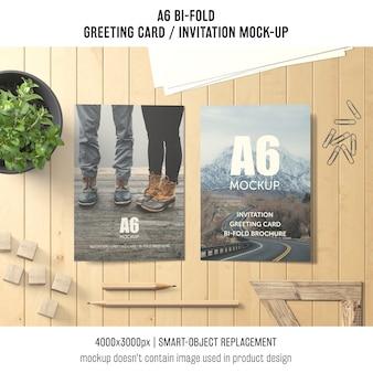 Twórczy a6 bi-fold makieta z życzeniami