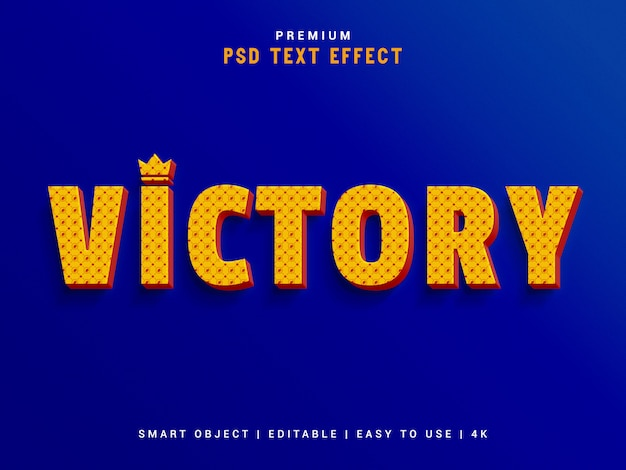Typograficzny efekt tekstowy typu victory premium, makieta 3d