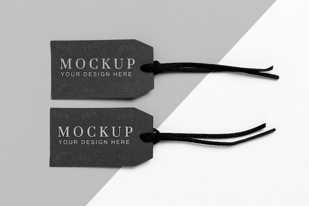 Ubrania minimalistyczne czarne tagi makiety