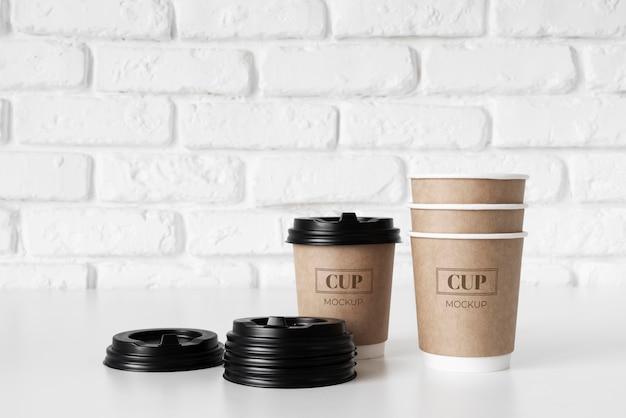 Układ elementów kawiarni jednorazowego użytku shop